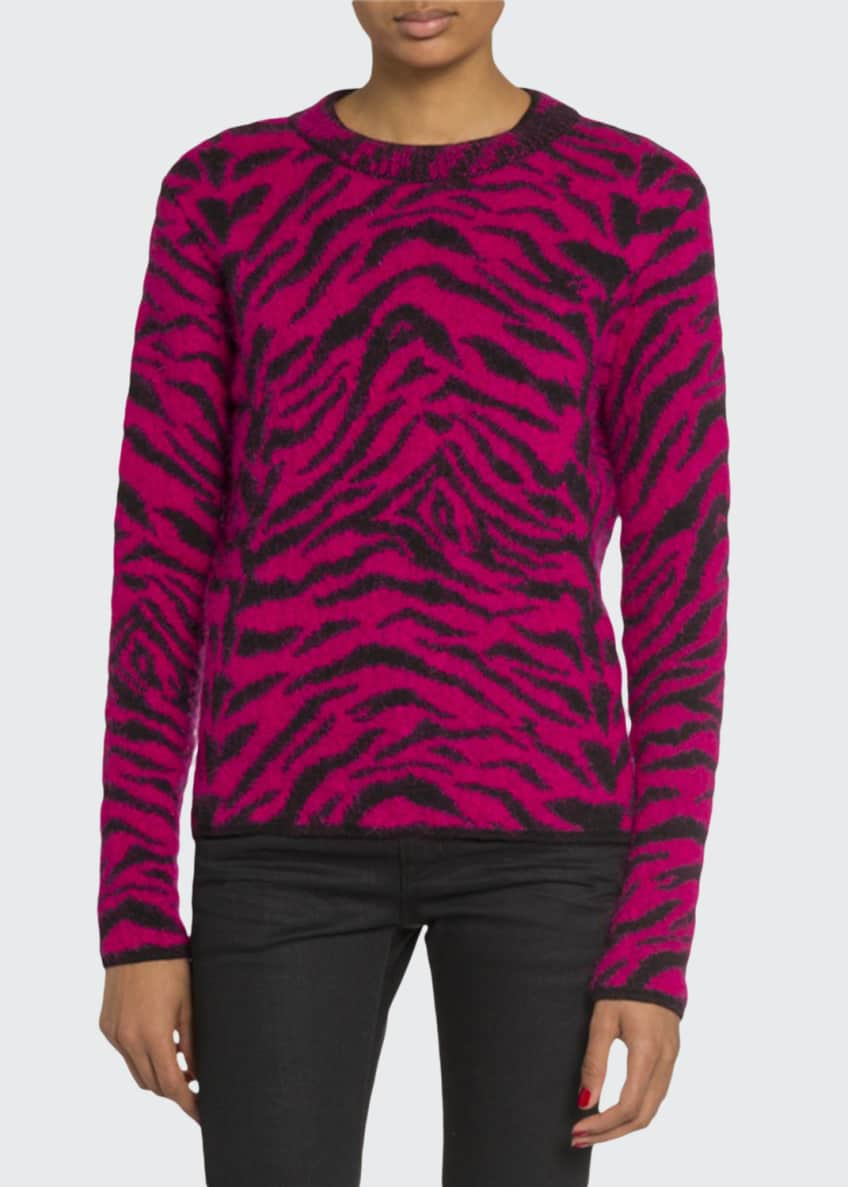 Saint Laurent Crewneck Zebra Print Fuzzy-Wool Sweater &
