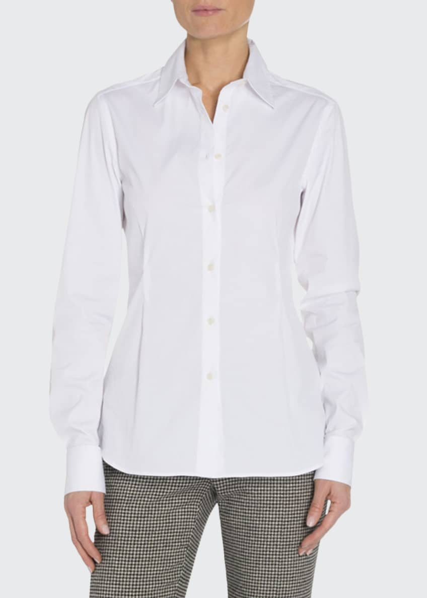 Image 1 of 3: Cotton Button-Front Blouse