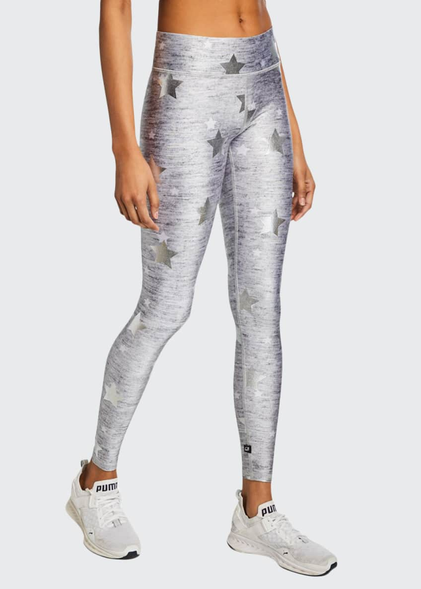 Terez Stars Foil-Printed Heathered Balayage Leggings & Matching