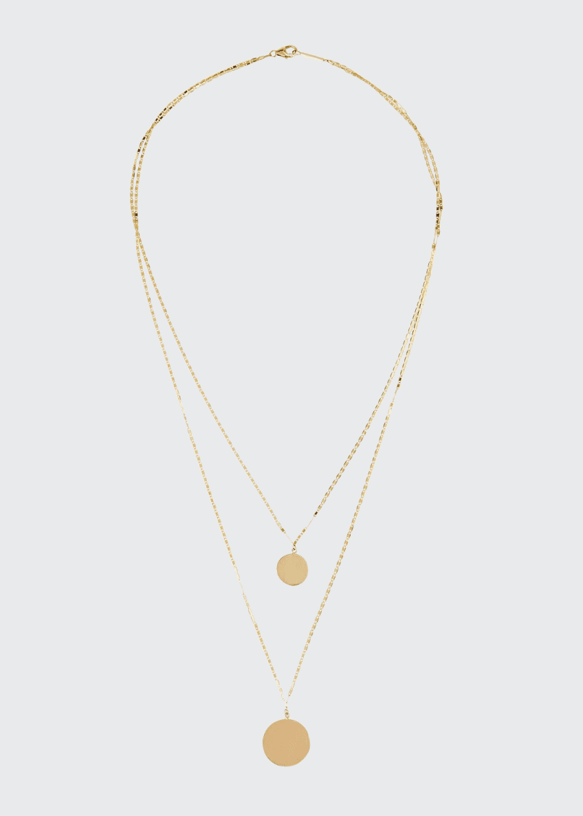 Image 1 of 1: 14k Disc Double-Layer Necklace