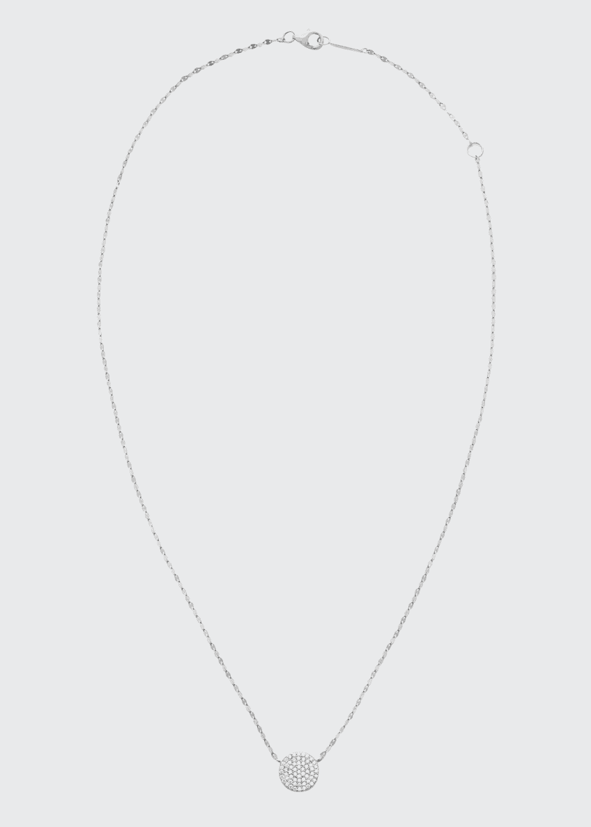 Image 1 of 2: 14k Diamond Pave Disc Pendant Necklace