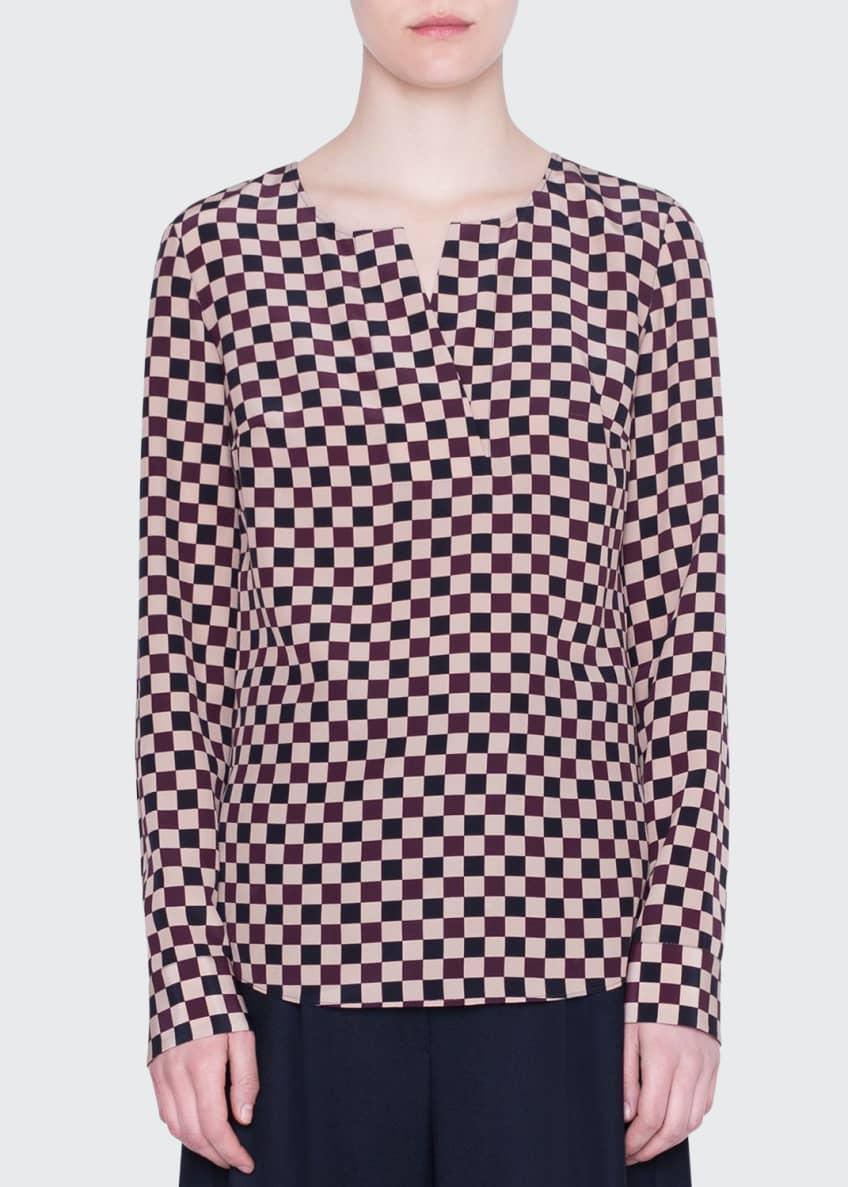 Akris punto Checkered Silk Long-Sleeve Blouse & Matching