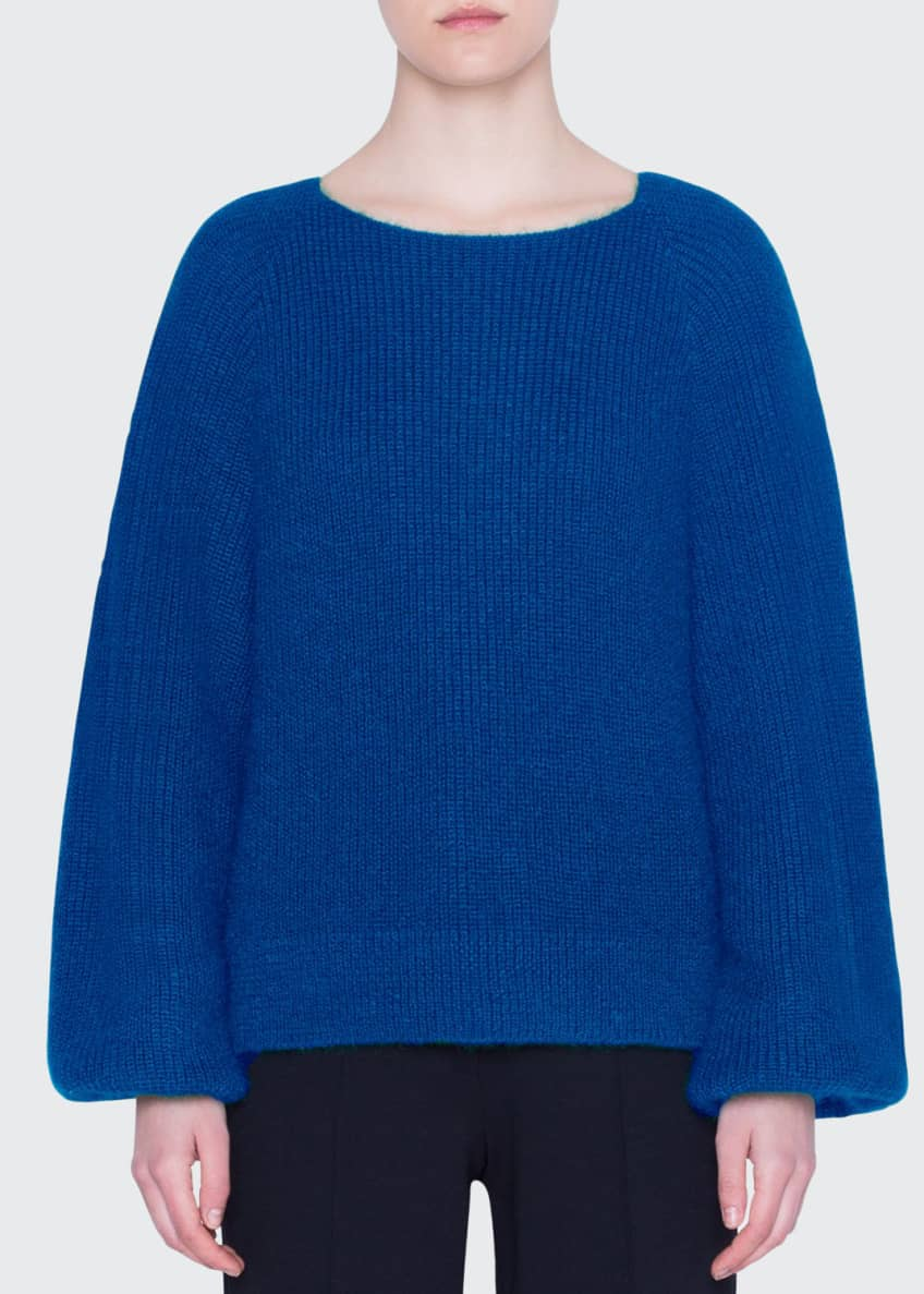 Akris punto Ribbed Alpaca-Knit Full-Sleeve Sweater & Matching