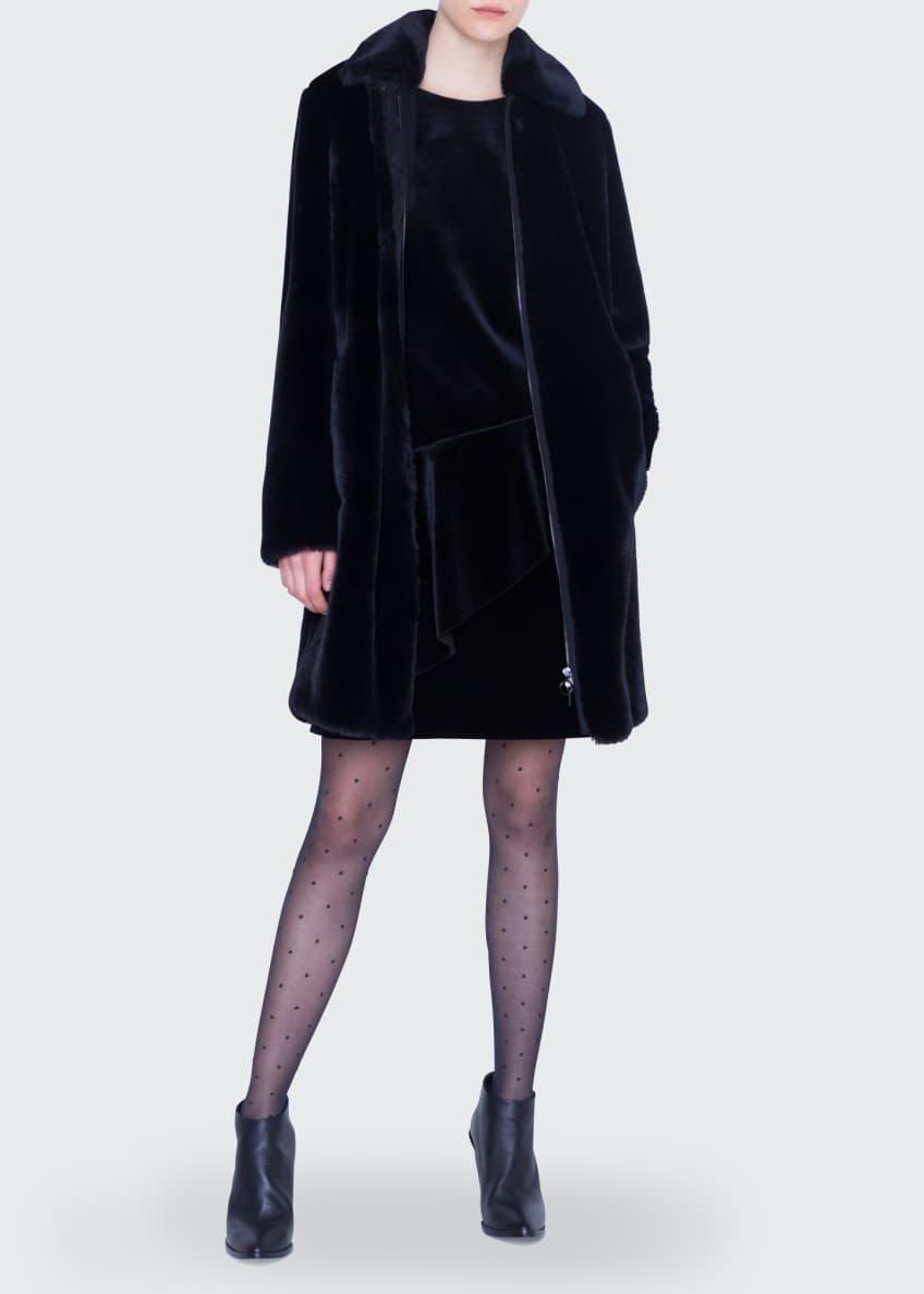 Akris punto Knee Length Faux-Fur Zip-Front Coat &