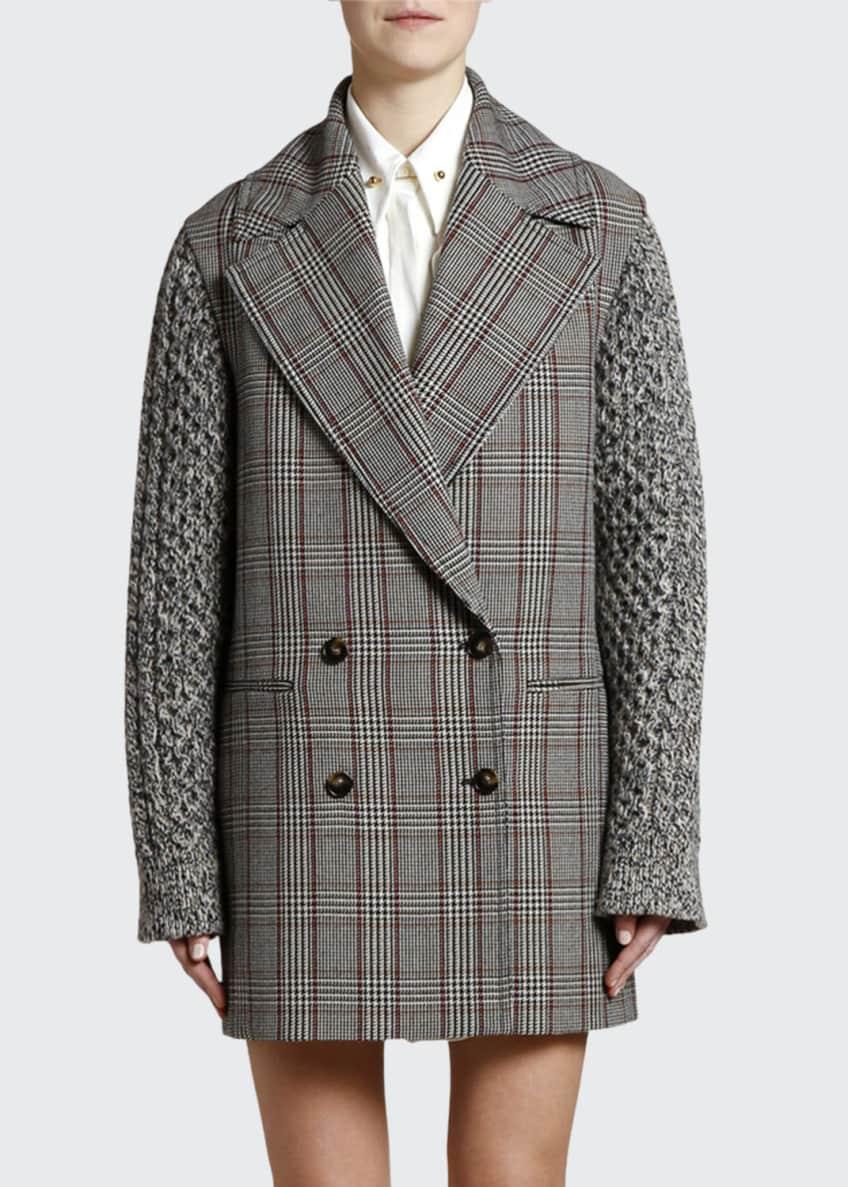 Stella McCartney Plaid Knit-Sleeve Oversized Pea Coat &