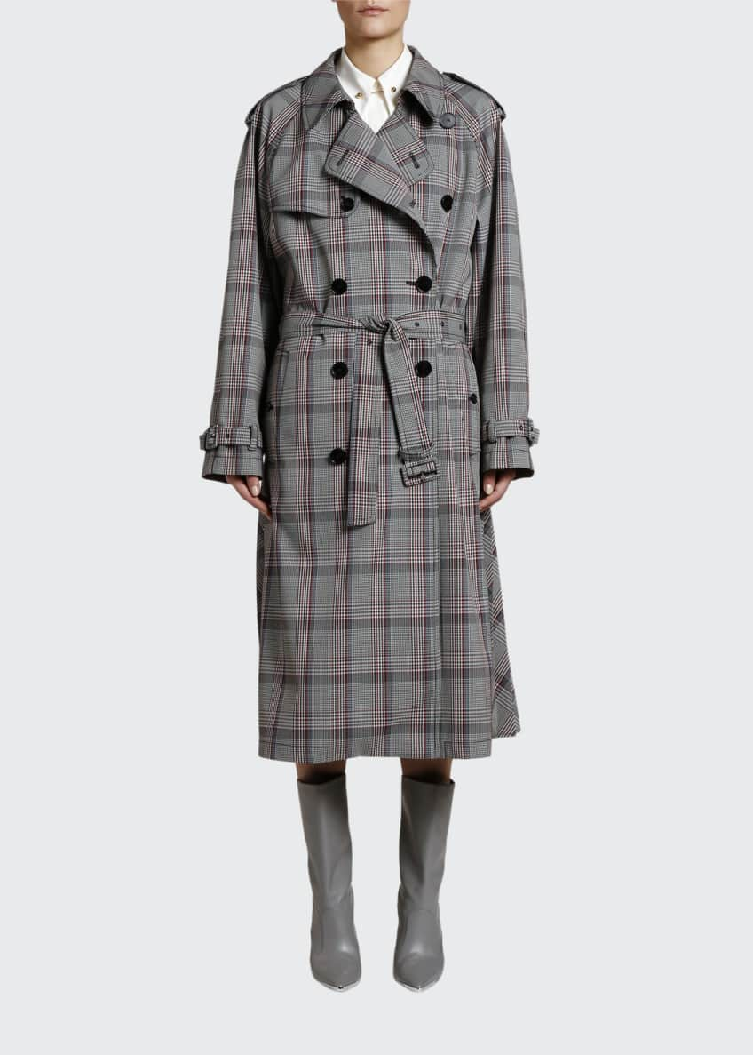 Stella McCartney Check Pleated-Back Trench Coat & Matching