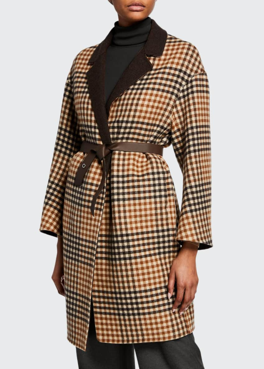 Loro Piana Melvin Cashmere Checked Leather-Belted Coat &
