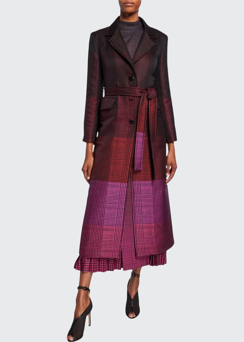Mary Katrantzou Degrade Houndstooth Belted Coat & Matching