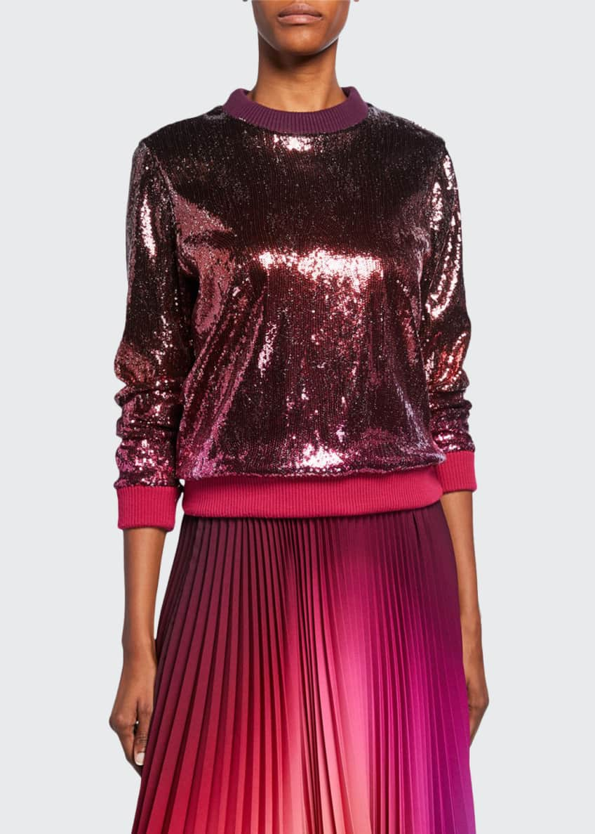 Image 1 of 4: Ombre Sequined Crewneck Sweater