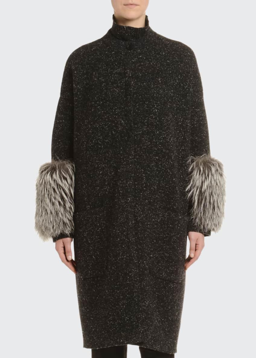 Agnona Melange Cashmere-Tweed Turtleneck Sweater, Black/White &
