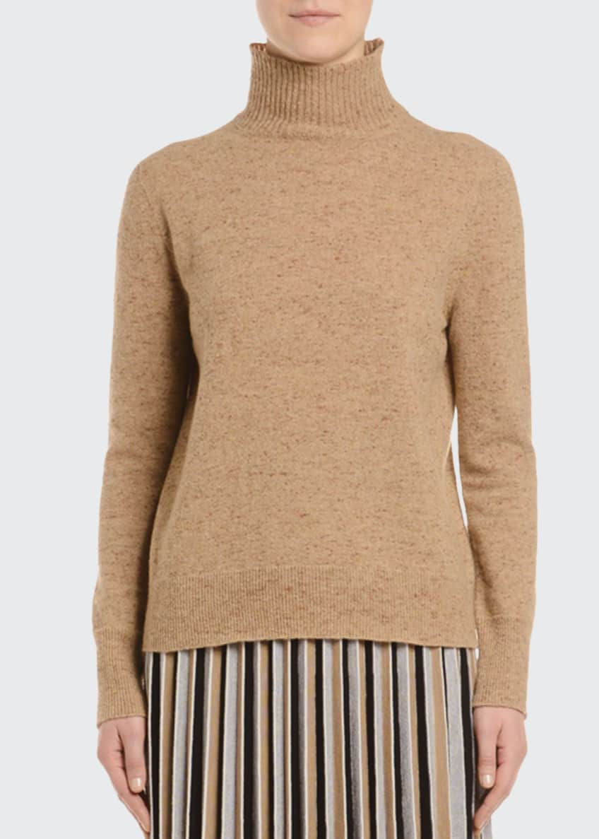 Agnona Melange Cashmere-Tweed Turtleneck Sweater, Camel &