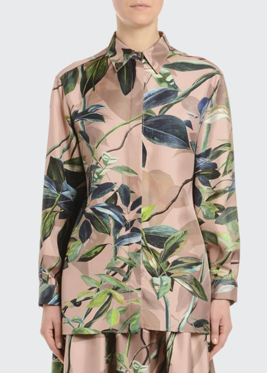 Agnona Floral-Print Silk Twill Button-Front Blouse & Matching