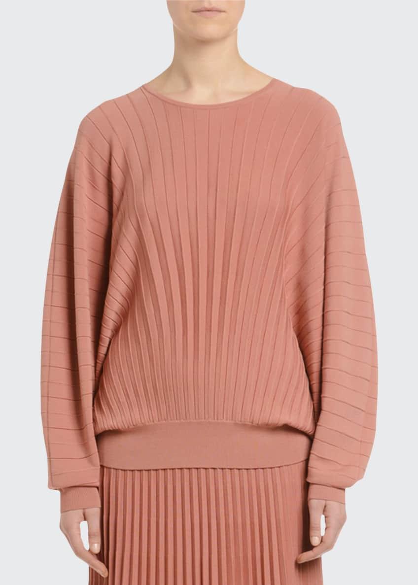 Agnona Dolman-Sleeve Pleated Wool Sweater & Matching Items
