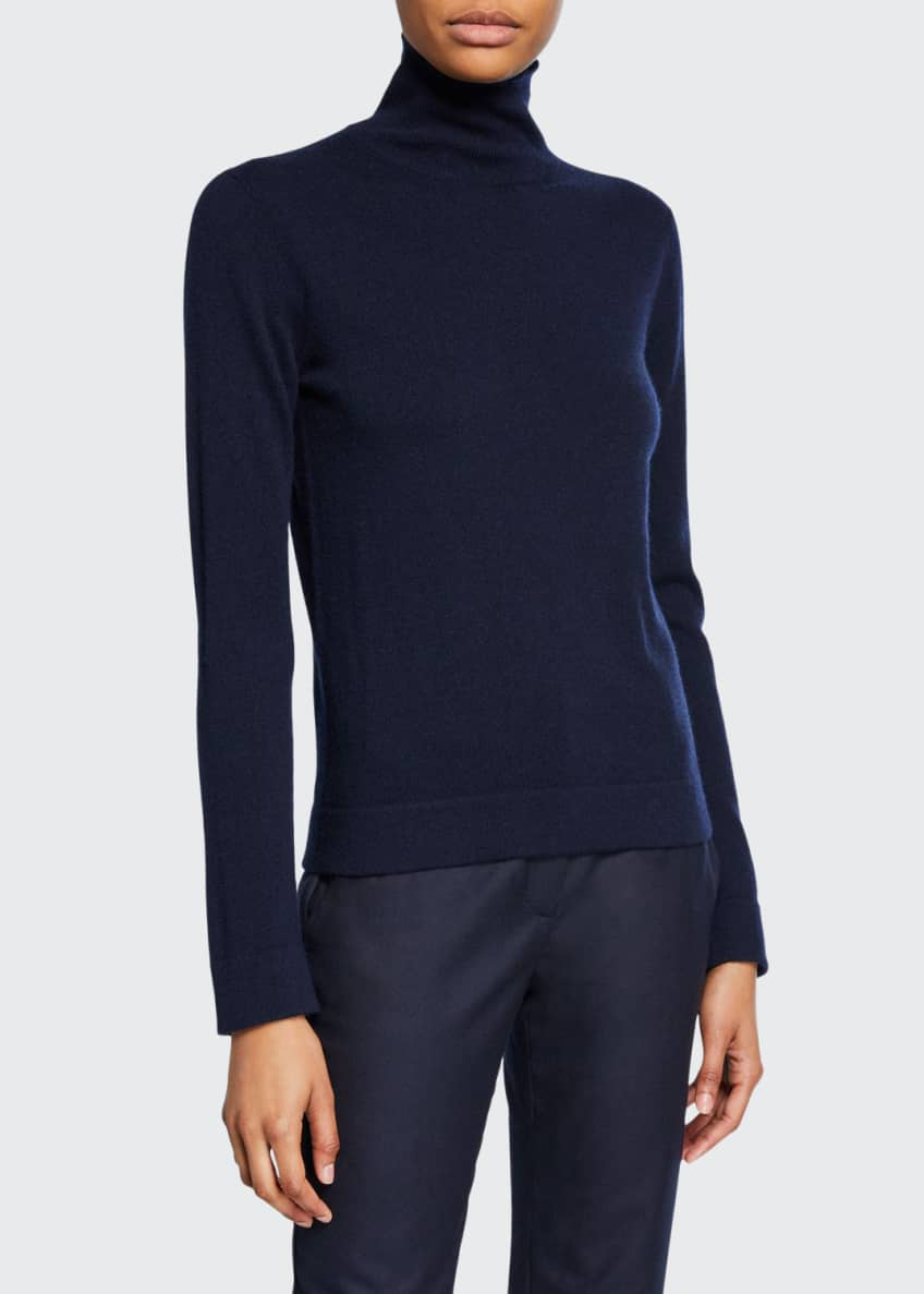 Image 1 of 2: Cashmere Tubular-Finish Turtleneck Sweater