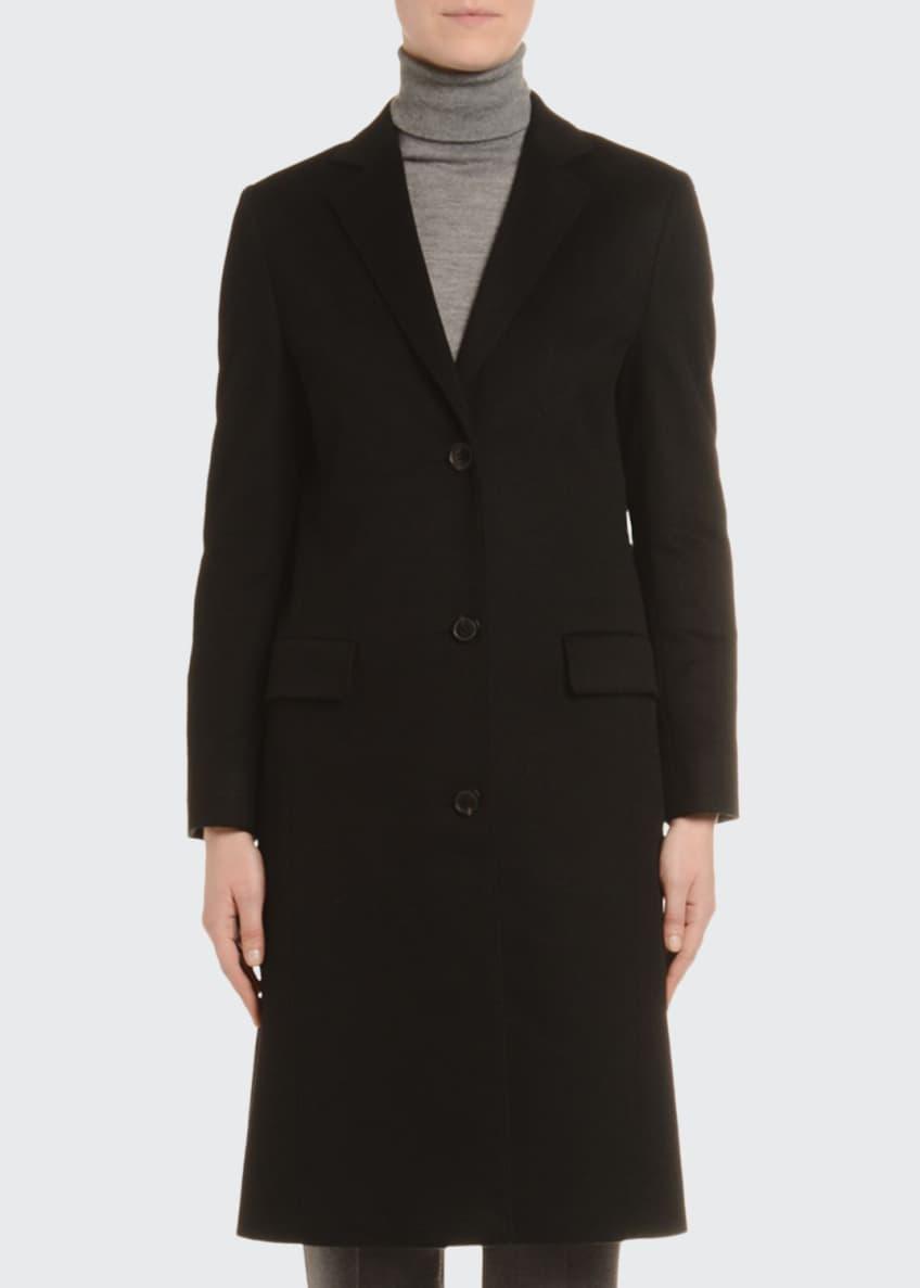 Agnona Cashmere Single-Breasted Slim Coat, Black & Matching
