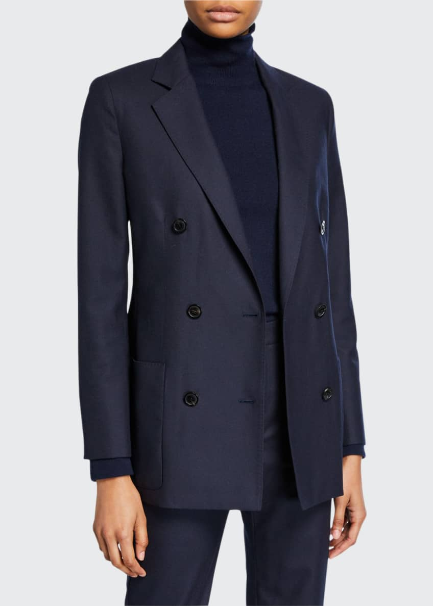 Image 1 of 5: Wool-Flannel Double-Breasted Jacket