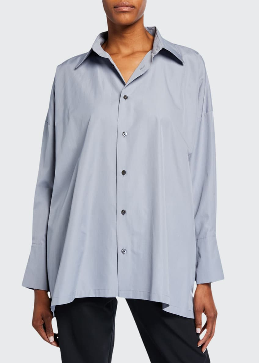 Image 1 of 2: A-Line Button-Front Shirt