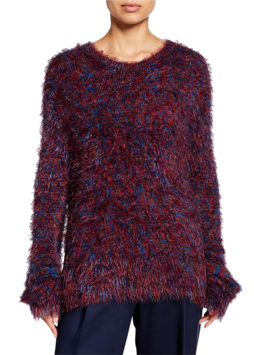 Image 1 of 4: Long-Sleeve Crewneck Fuzzy Sweater