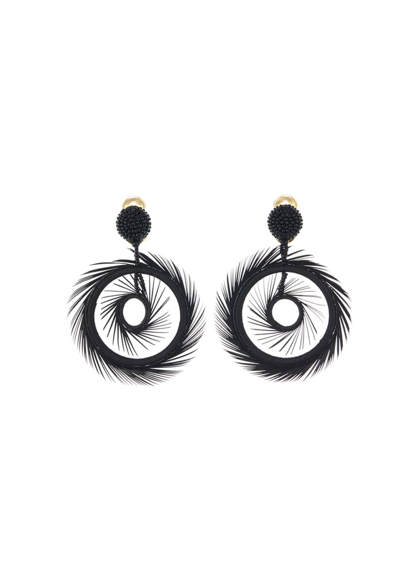 Image 1 of 1: Feather Hoop-Drop Earrings