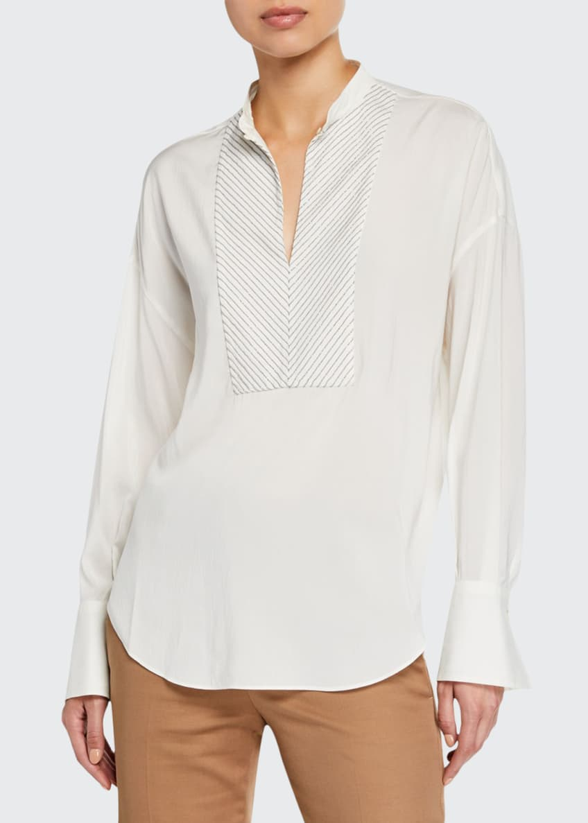 Image 1 of 4: Monili-Beaded Chevron Silk Blouse