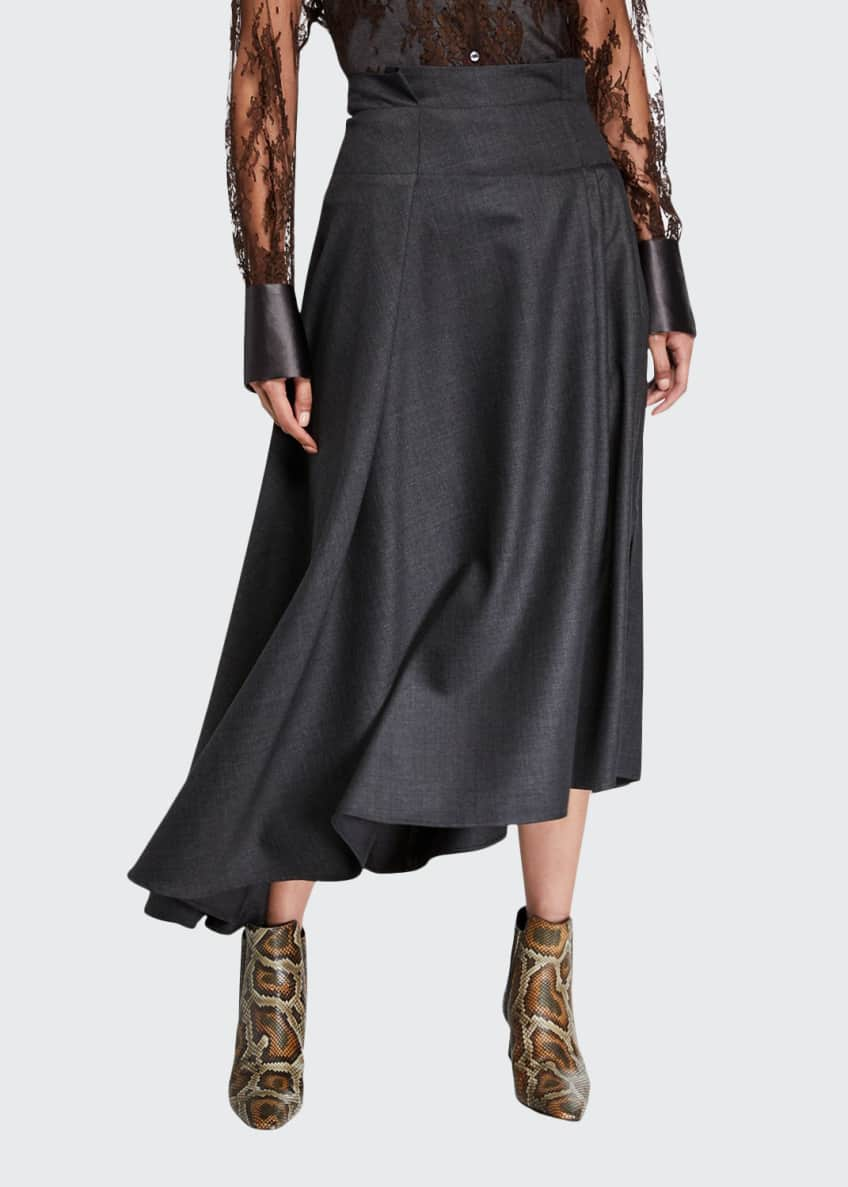 Image 1 of 3: Grisaille Wool Asymmetric Skirt
