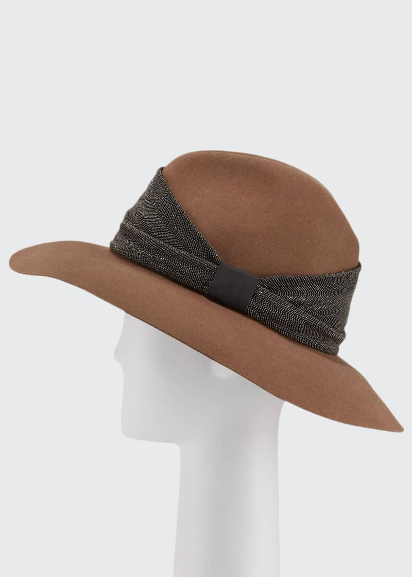 Image 1 of 1: Cashmere Monili-Beaded Fedora Hat