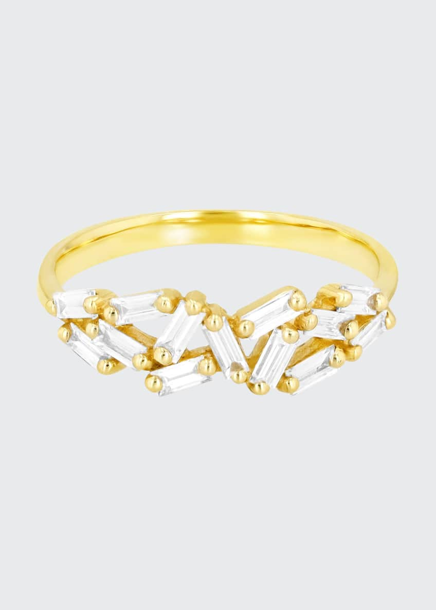Image 1 of 2: 18K Yellow Gold Baguette Diamond Band Ring, Size 6