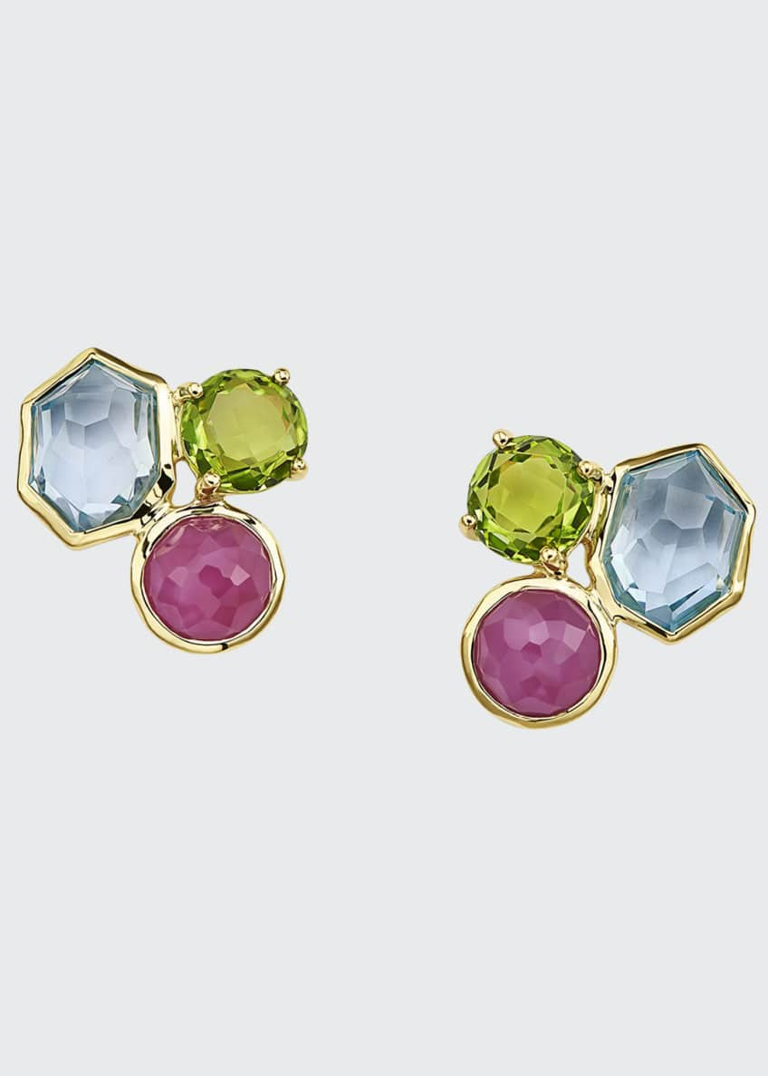 Image 1 of 1: Rock Candy 3-Stone Stud Earrings in Summer Rain