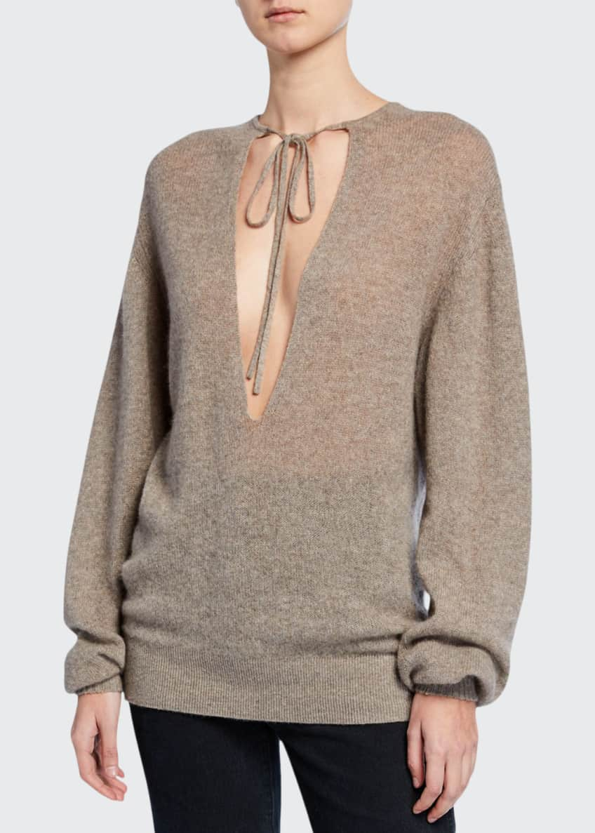 Image 1 of 5: Emma Cashmere Plunging Tie-Neck Sweater