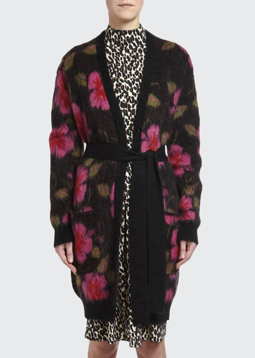 Double J Fuzzy Floral-Intarsia Cardigan Coat & Matching