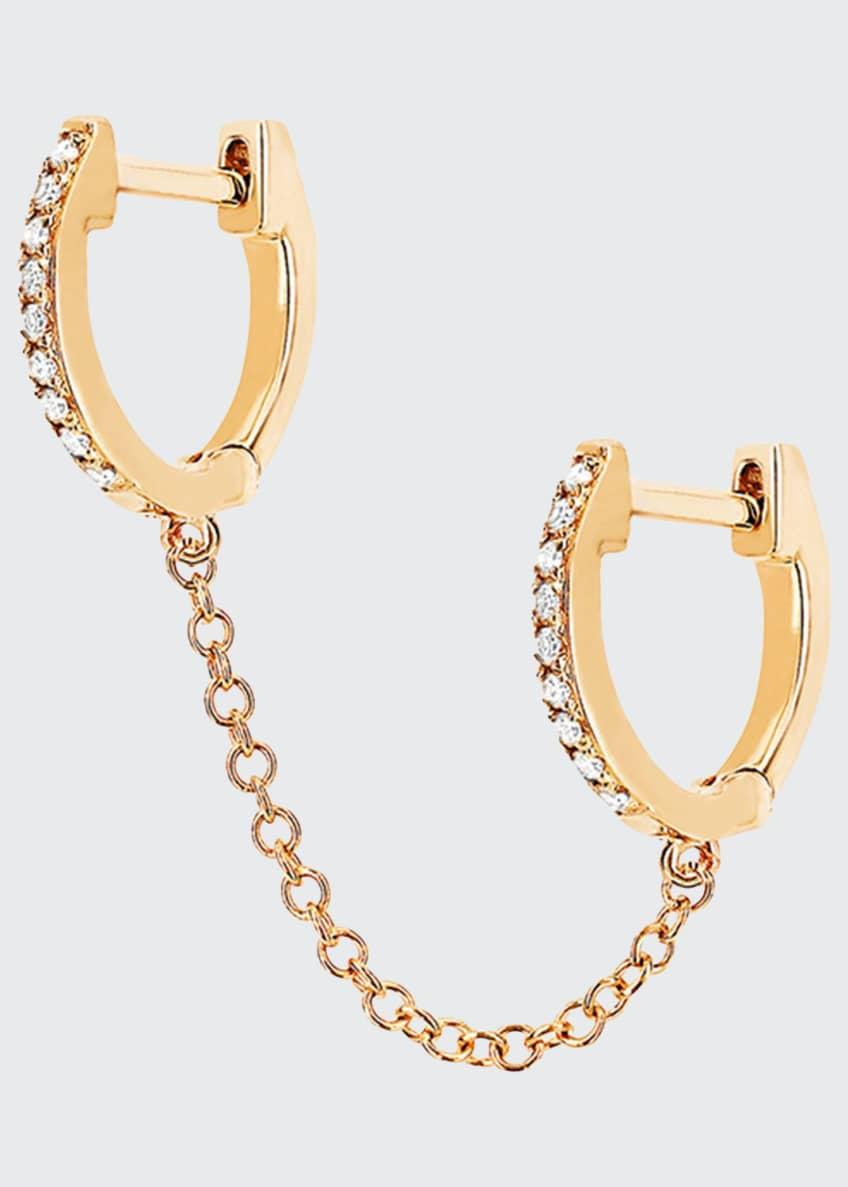 EF Collection 14k Diamond Double-Huggie Chain Earring, Single