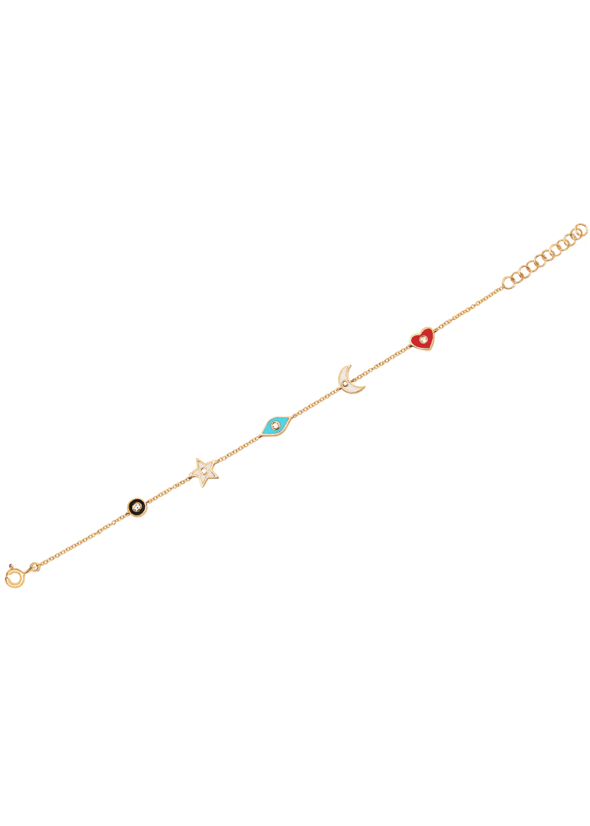 EF Collection 14k 5-Diamond & Enamel Charm Bracelet