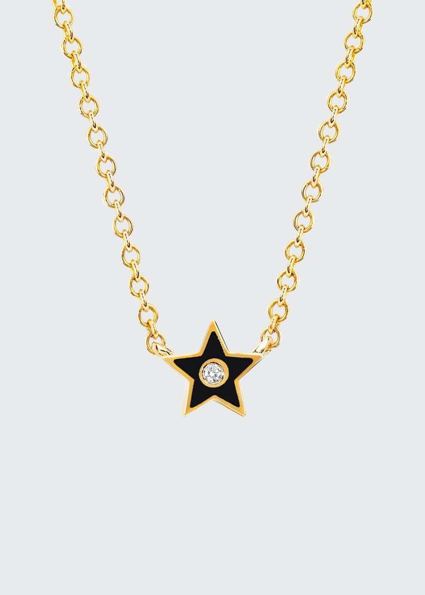 EF Collection 14k Diamond & Enamel Star Necklace,