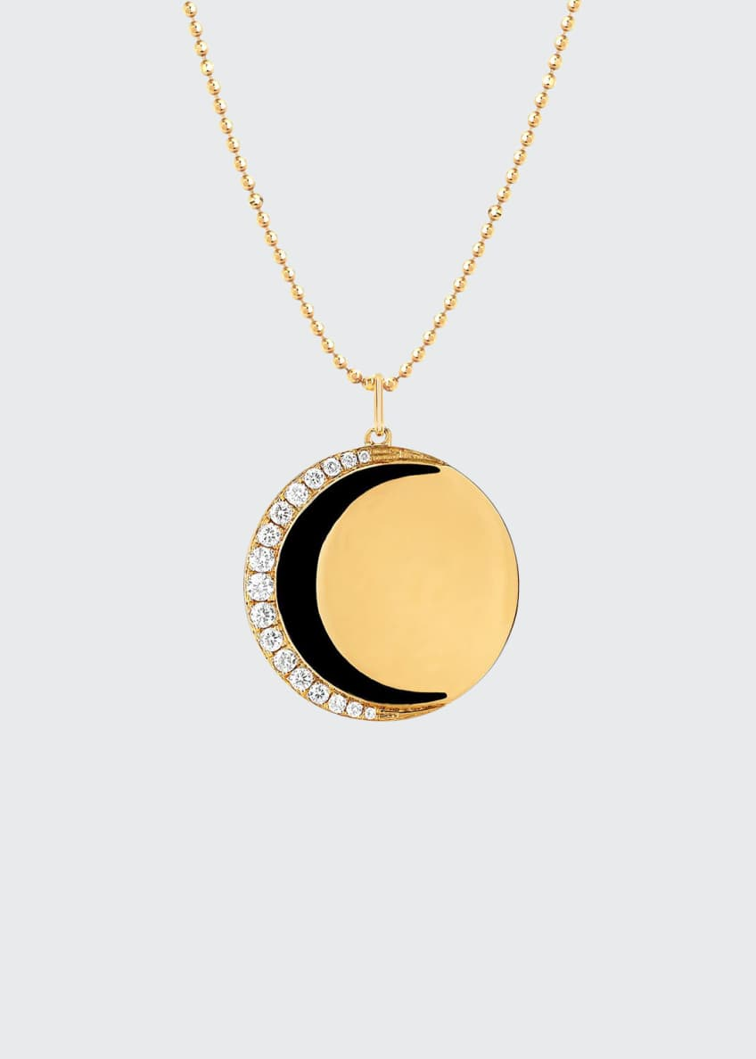 EF Collection 14k Diamond & Enamel Moon Necklace,