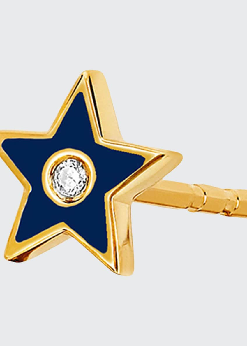 EF Collection 14k Diamond & Enamel Star Stud