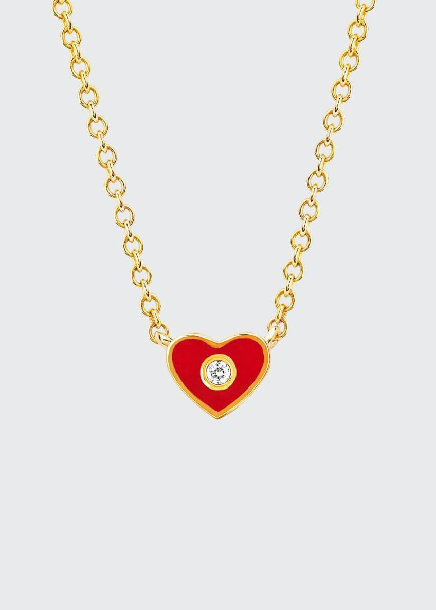 EF Collection 14k Diamond & Enamel Heart Necklace,