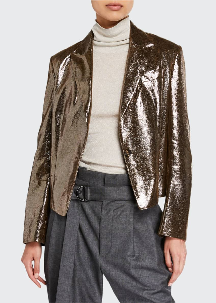 Image 1 of 3: Sparkling Napa Leather Jacket