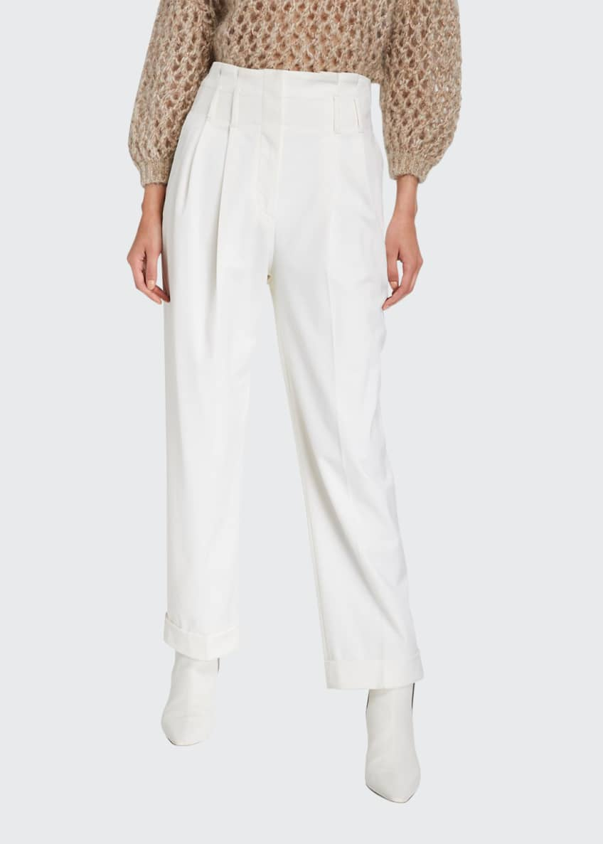 Image 1 of 3: Wool Pleated Full-Leg Pants