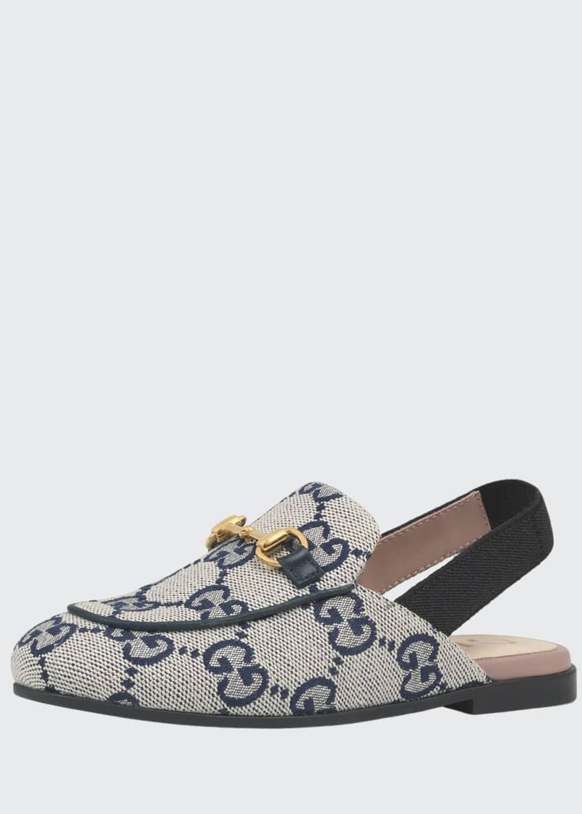 Gucci Princetown GG Canvas Horsebit Mule Slides, Toddler