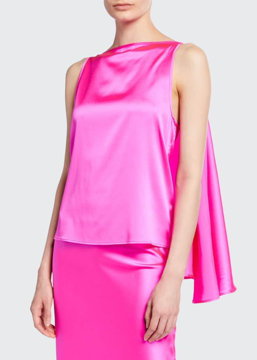 BERNADETTE Judy Knot-Front Silk Top, Pink & Matching