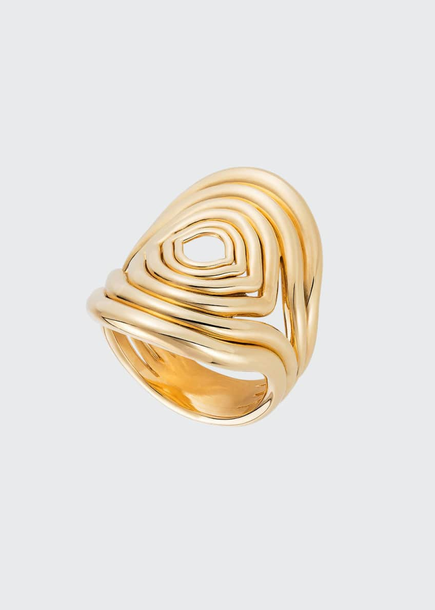 Image 1 of 1: Rounded Lines 18k Gold Ring, Size 8