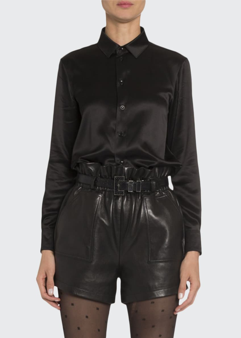 Saint Laurent Satin Classic Button-Front Blouse & Matching