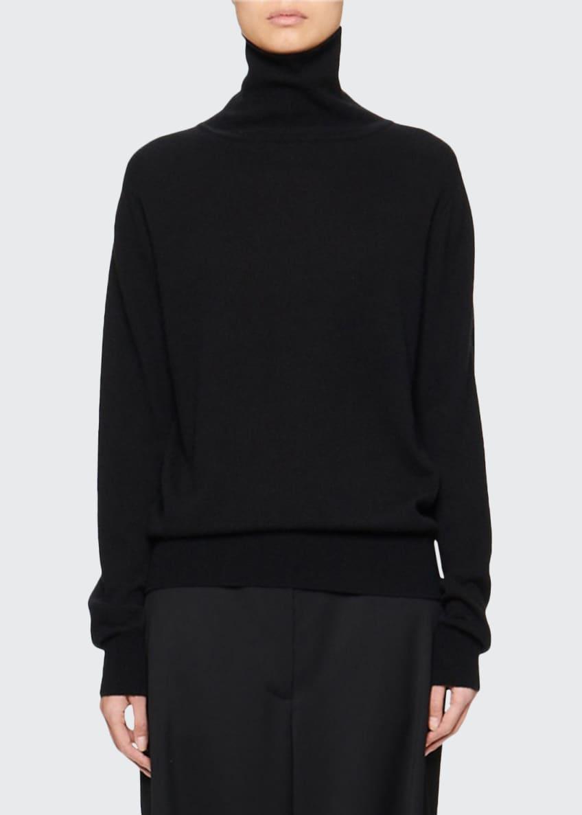 THE ROW Seiler Wool-Cashmere Turtleneck Sweater, Black &