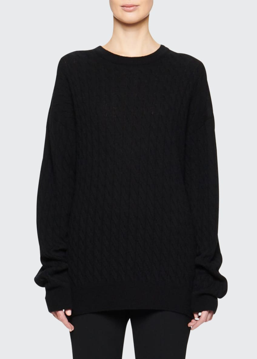 THE ROW Minorj Cashmere-Silk Cable Knit Sweater &