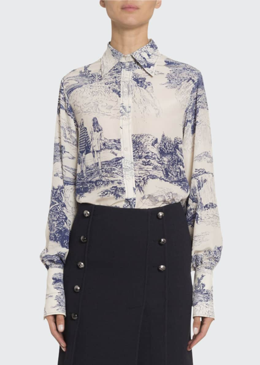 Chloe Toile Silk Button-Front Top & Matching Items