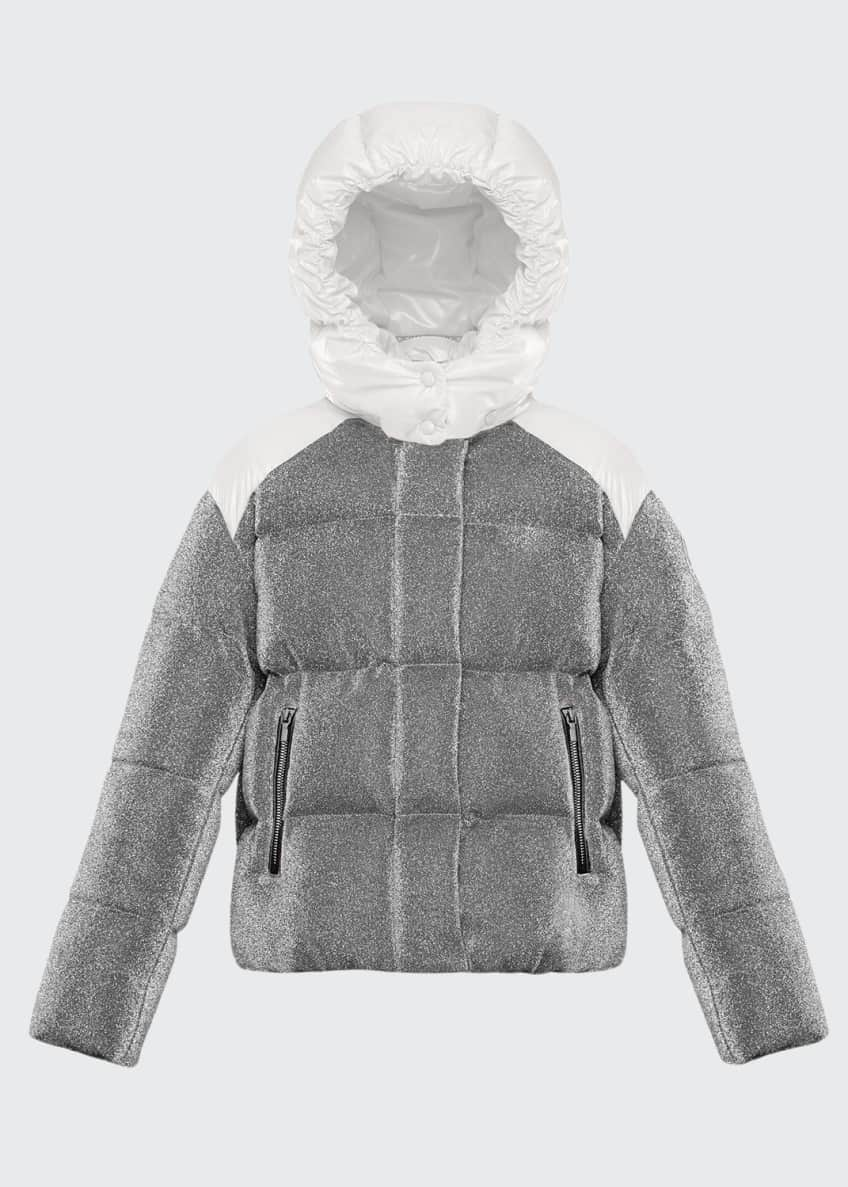 Image 1 of 2: Chouette Sparkles Detachable-Hood Puffer Coat, Size 4-6