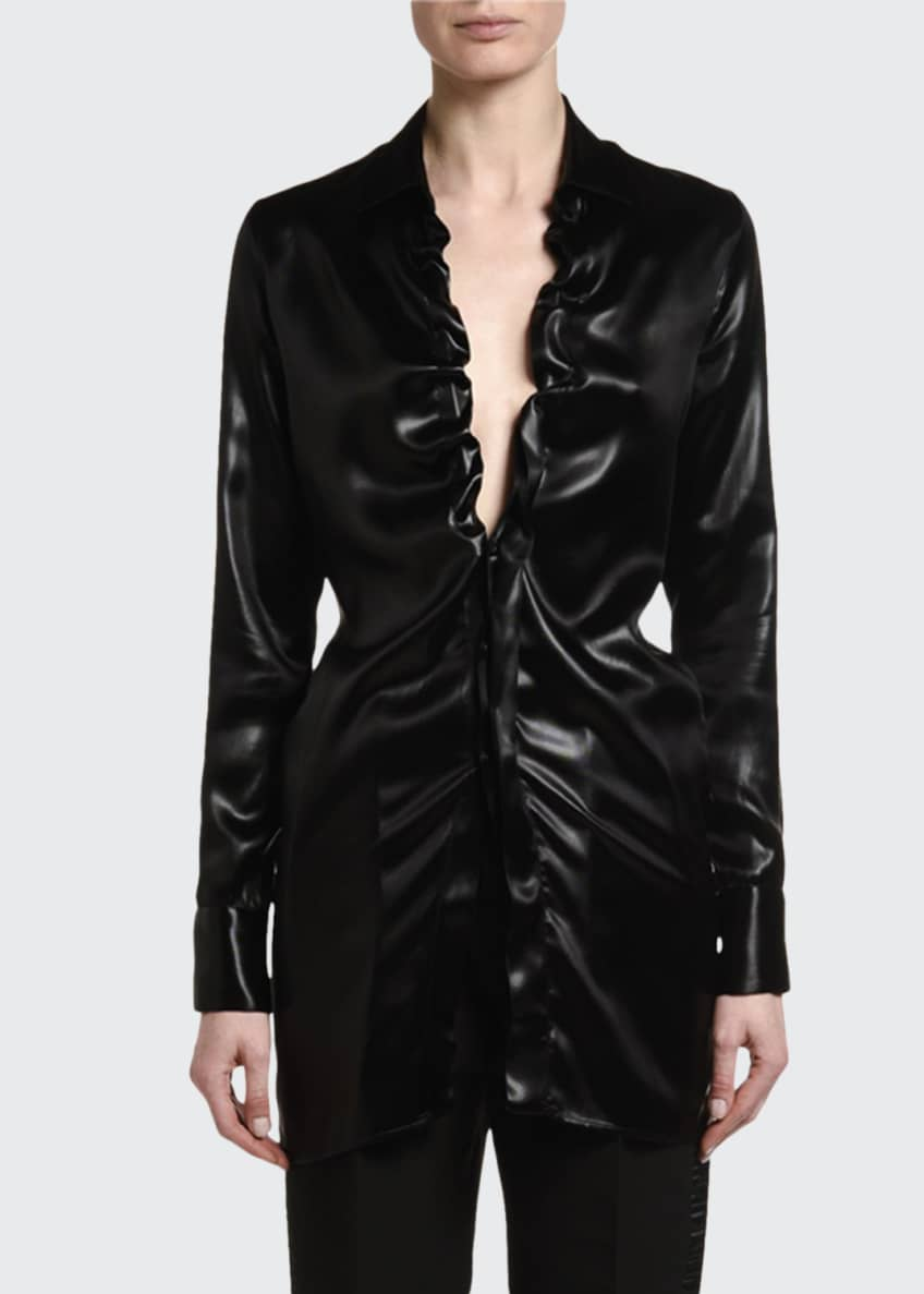 Image 1 of 5: Lacquered Satin Blouse with Ruffle Keyhole