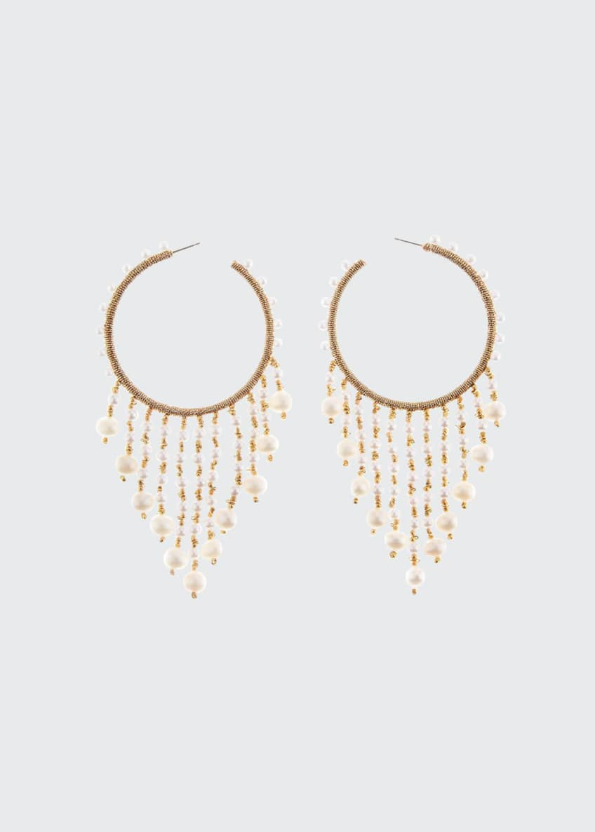 Image 1 of 1: Beaded Hoop Dangle Earrings
