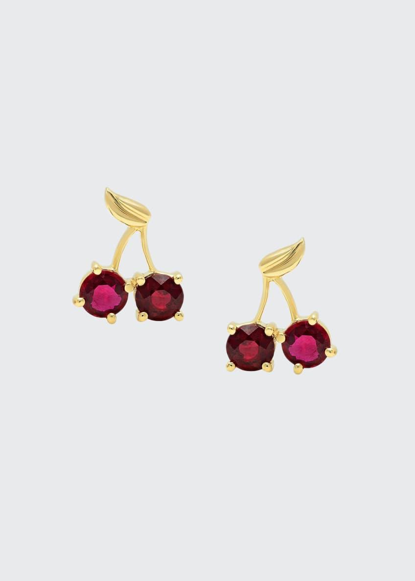 Established Jewelry 18k Yellow Gold Ruby Cherry Earrings