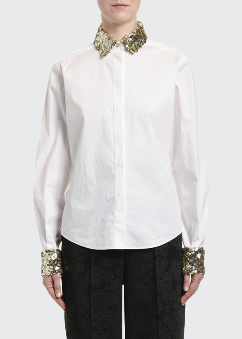Dolce & Gabbana Sequined-Trim Poplin Button-Front Blouse &